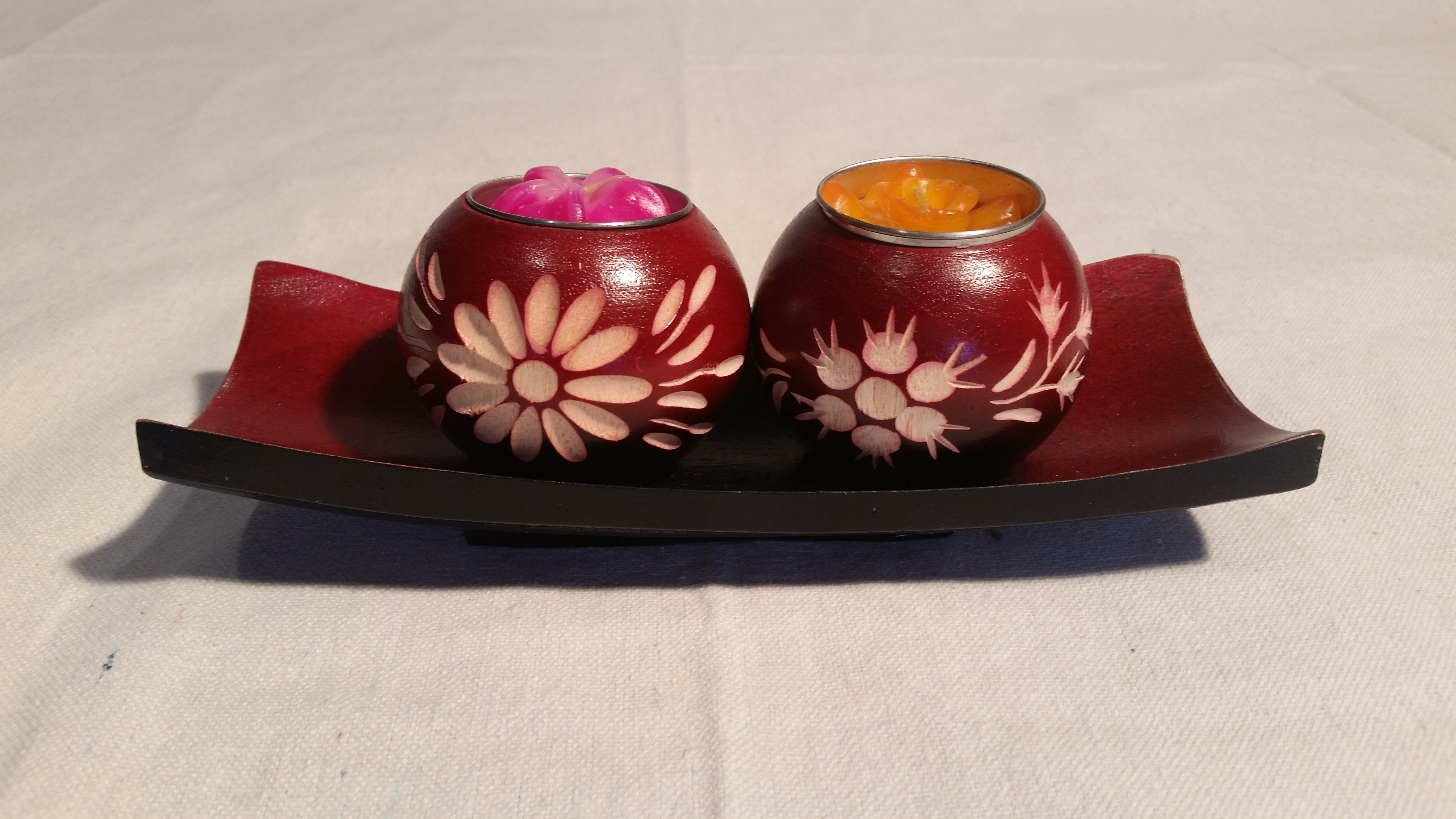 8 inch red candle bowl set 1%282%29