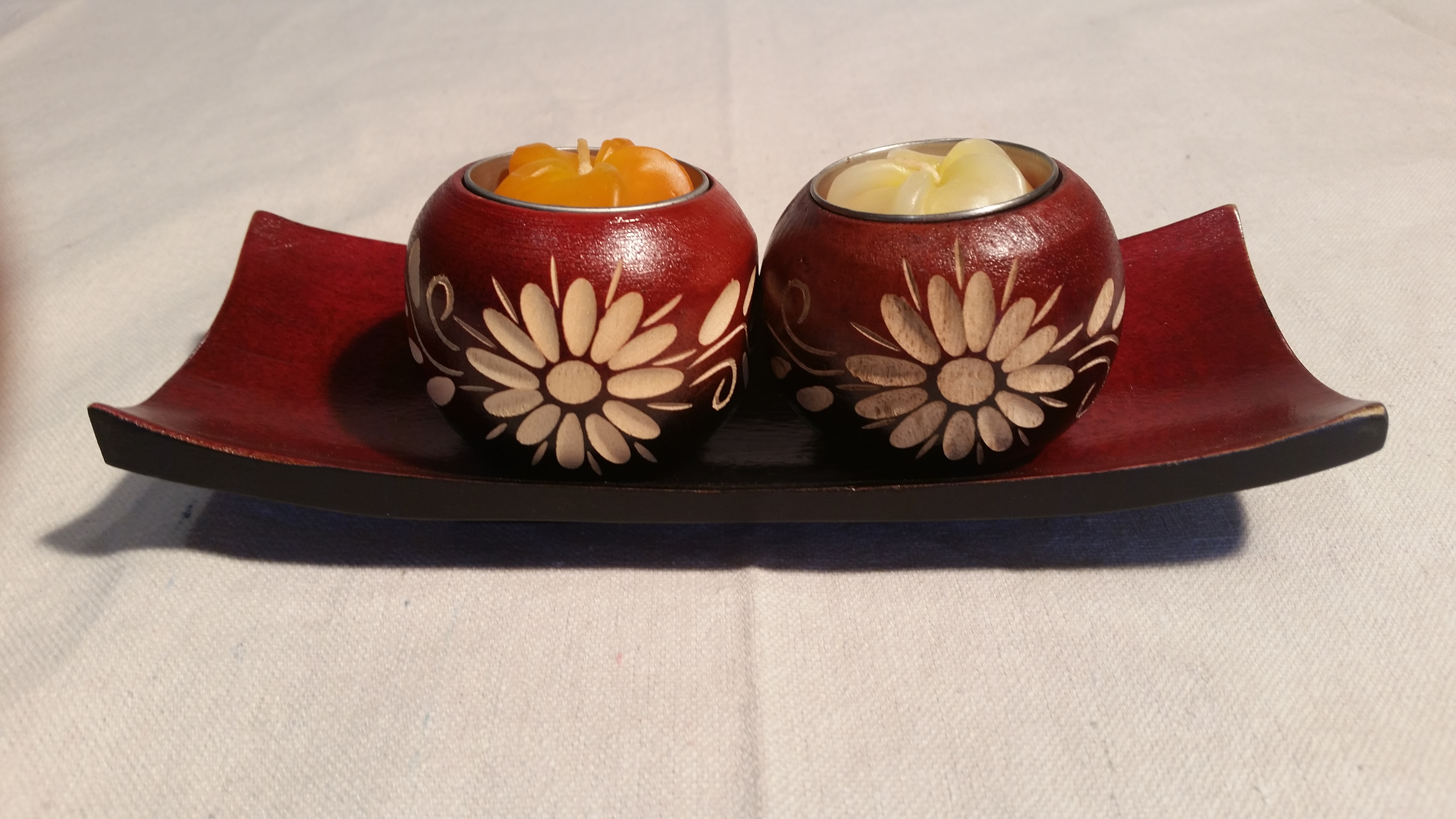 8 inch red candle bowl set 2 %282%29